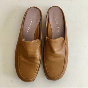 Gianni Bini Leather Flats Tan Slide Loafers